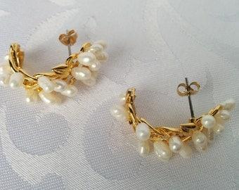 Freshwater Pearl Gold Tone Half Hoop Earrings, Seed Pearls