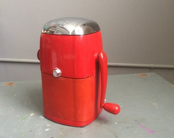 Vintage Ice Crusher Red Mid Century Metal and Plastic Ice-O-Mat Barware