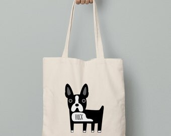Canvas tote bag, boston terrier tote bag, personalized boston terrier tote