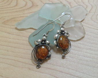 Vintage Baltic Amber 925 Sterling Silver Dangle Earrings