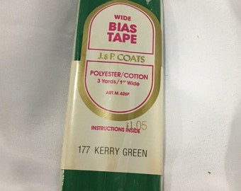 Bias Tape Trim, Kerry Green Bias Tape, J & P Coats, Vintage Sewing trim supplies