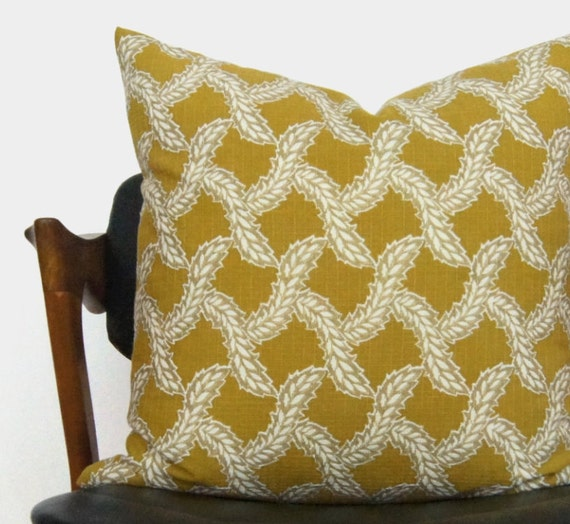Mid Century Chartreuse Fern Pillow Case | Citrus Lime, Gold, White Leaf Botanical Decorative Cushion Cover | 18x18 Citrine Throw Pillows