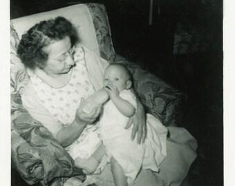 "Vintage Snapshot ""Granny and Billy"" Newborn Baby Child Bottle Feeding Grandmother Family Love Joy Sweet Vernacular Paper Ephemera Find - 148"