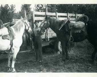 "Vintage Photograph ""Getting Ready for a Trail Ride"" Farmer Guy Man Horse Animal Woodland Pickup Truck Travel Found Americana Snapshot - 16"