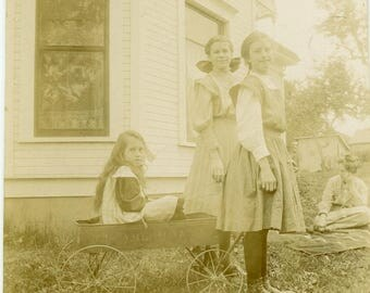"""Antique Photograph """"Three Wagon Sisters"""" Farm Country Farmhouse Family Teenage Friend Sister Woman Lady Girls Old Vintage Found Photo - 145"""