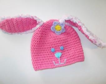 pink bunny hat, Easter bunny hat, floppy earred bunny, fuzzy bunny hat, crochet beanie, girls rabbit hat, costume hat, warm winter hat, fun