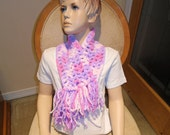 Girl Crochet Scarf with colorful fringes, Purple girls scarf, Plush girl's scarf, fringed scarf, Bernat baby yarn scarf, Scarf for girls