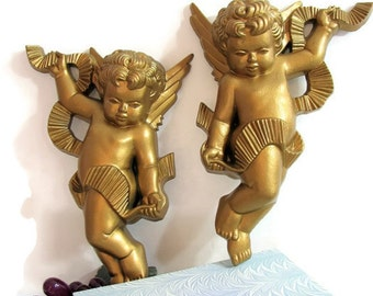 Gold Regency Cherub Wall Decor Plaques, Vintage Burwood Products, 1970's Pair, Set of 2, Golden Wall Angels, Figurines