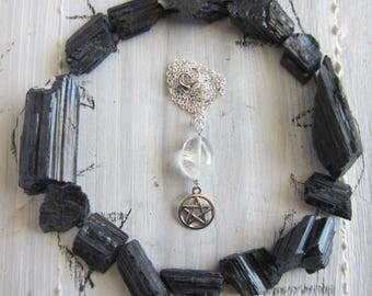 Witch necklace - crystal Pentacle pendant witchcraft jewelry wiccan amulet pagan wicca pentagram mystical witchy occult