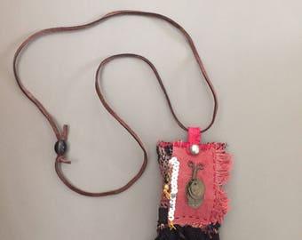 tribal nomad lavender pouch pendant with fringes - red black worteldoek lavender pendant - nomad boho mixed media hand sewn fabric pendant