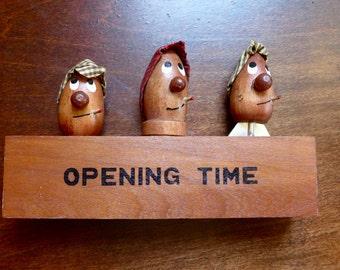 "Vintage 1950s Mid-Century Barware Set ""Opening Time"" Barfly with Cigarette and Headcoat Cork Corkscrew Bottle Cap Opener"