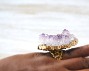 Raw Amethyst Cluster Ring, Druzy Statement Ring, Gold Plated Ring, Filigree Ring, Bohemian Gemstone Jewelry, Purple Crystal Ring