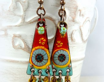 Southwestern Enamel Charm Earrings - Artisan Handmade Charms with Czech Picasso Beads - Turquoise and Red Boho Chic Earrings