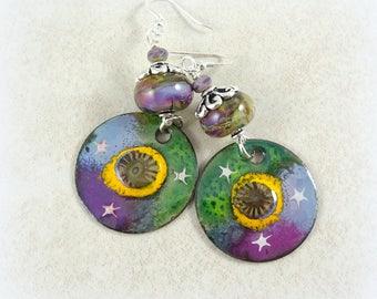 Purple Earrings, Artisan Charm Earrings - Purple, Blue and Green Earrings, Unique Artisan Lampwork Earrings, Enamel Charm, Blue Earrings