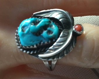 Sterling silver, coral and turquoise old pawn ring    VJSE