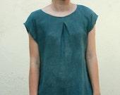 Hand dyed linen-cotton blend shirt, linen clothing unique colors, ruffled hemline