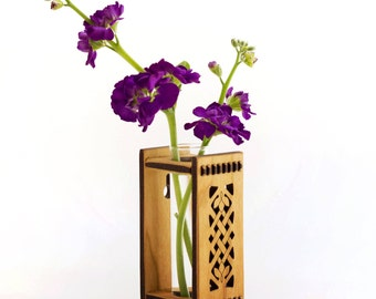 Celtic Vase - Test Tube Vase - Bud Vase - Celtic Bud Vase - Tiny House Decor - Tiny House Vase - Small Vase - Wood Vase - Wooden Vase