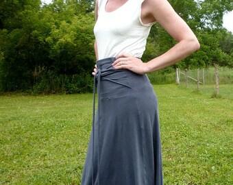 Organic Clothing Versatility Long Maxi Convertible Skirt Organic Cotton Bamboo Clothing Hippie Skirt Gaia Mother Earth Blue High Waist Skirt