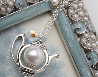 Teapot Necklace, tea necklace, Alice Necklace, tea jewelry, white teapot necklace, tea lover gift, Mom Christmas gift, Grand mother gift