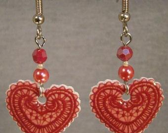 Lace Heart Dangle Earrings - Valentine's day Jewelry - Love Jewellery