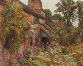 Whitbourne Herefordshire Old English Country Cottage by E. A. Chadwick, Antique 8x11 Color Art Print, British, FREE Shipping