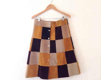 1960s multicolor suede patchwork skirt  with front snaps