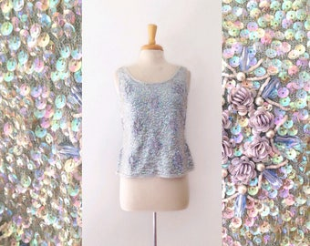 1950s /60s  pale blue Sequin and bead work embellished cocktail hour top , size medium /large
