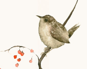 Bird Art Print from Original Watercolor Little Wren and Berries