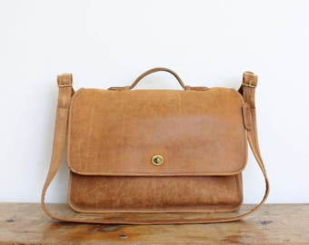 Vintage Coach Bag // School Bag Briefcase Distressed Tan // Leather Laptop Messenger Bag