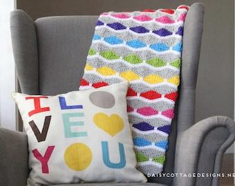 Crochet Blanket Pattern from Daisy Cottage Designs, Modern Crochet Blanket Pattern, Fun Crochet Blanket Pattern