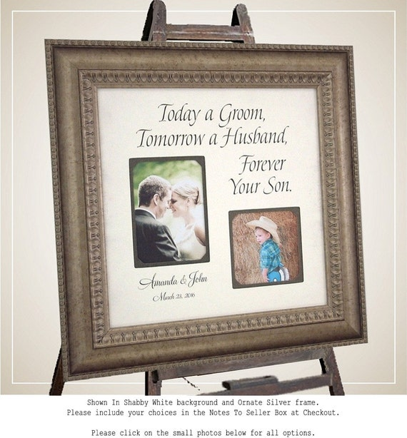 MOTHER of the GROOM Gift, Today a Groom, Bridal Shower, Reception, Custom Wedding Frame,photo frame, Father of the Groom Gift, 16 X 16