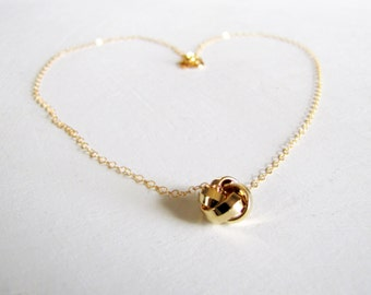 Gold Love Knot Necklace Short Layering Necklace Minimalist Necklace Gold Necklace Simple Necklace On Trend Jewelry Valentine's Day Gift