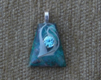Chrysacolla,feather and genuine blue zircon pendant with sterling silver chain
