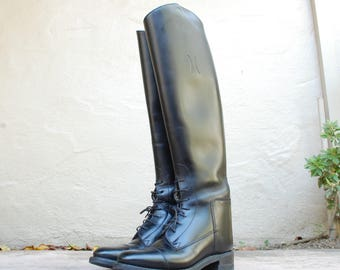 Vintage Womens Girls Youth 4.5 Effingham Bond Boot Company USA Leather Black Tall Pull On Riding Boots Classic Boho Boots Equestrian Biker