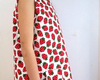 Strawberry Fabric Pinafore Dress Age 3-4
