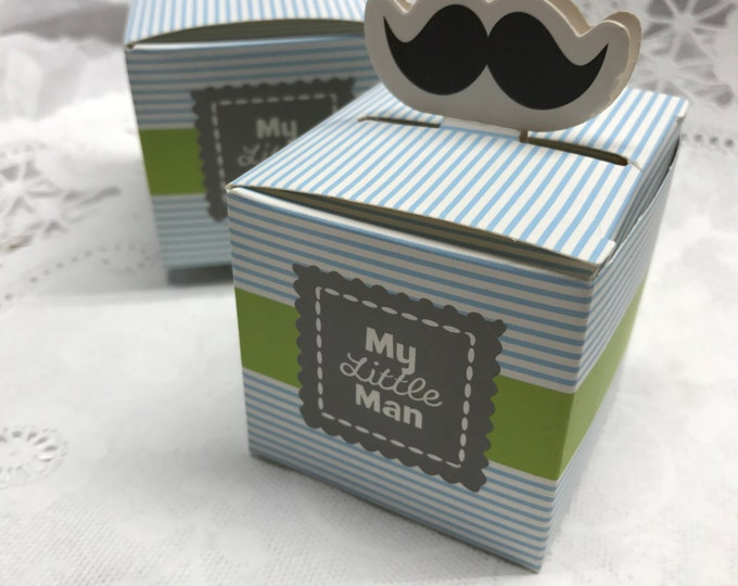 Baby Favor Boxes, My Little Man Party Favor Boxes, Blue Stripes with Black Mustache, Boy Baby Shower, Baby Trinket Box