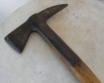 "ENGLISH FIREMAN'S AXE Ax Flared Oak Handle Tongue Joinery 2 Heavy Rivets Double Iron Blade Stamped Date 1950 & Military Arrow 15+"" + 2+ Lbs"