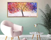 Art  Painting large abstract painting,canvas art,acrylic painting, turquoisewhite brown Landscape painting,   Wall Decor, wall art
