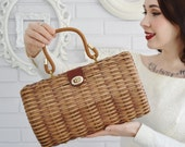 Vintage 1960s Woven Wicker Handbag with Plastic Handle and Leather Straps by B.B. Hong Kong