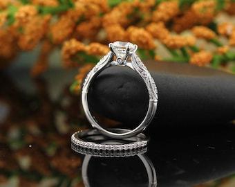 Forever One Moissanite Colorless Vintage style Engagement Ring Set,Diamond Wedding band set  In 14k White Gold,  Gem1439