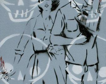 Vintage Fashion Illustration 10x24 The Couple That Slays Together Original Painting Fashion Pin Up Art Street Art Pop Art Graffiti Gay Art
