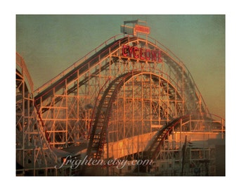 Coney Island Art, Roller Coaster Art 11 x 8.5 Inch Photography Print Cyclone Photo in Brooklyn New York