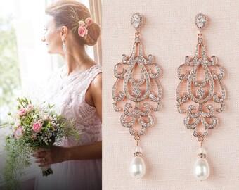 Rose Gold Bridal Earrings, Crystal Wedding Earrings, Long Chandelier Bridal earrings, Dangle, Swarovski  Bridal jewelry, Katilee Earrings