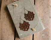boho wooden filigree drop earrings.