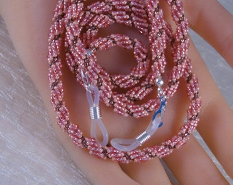 Ladies Bead-Woven Eyeglass Holder - 28 Inch Rose - Ombre Beaded Rope Sunglass Leash - Handmade Unique - Seed Bead Eyewear - Gift Under 30