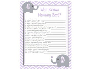 Baby Shower Game Purple Lavender & Grey (Gray) Elephant Chevron Who Knows Mommy Best Game Instant Download