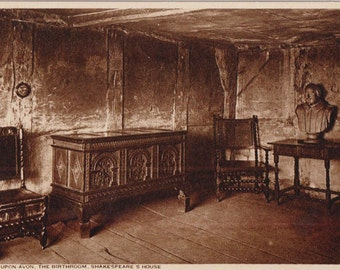 Shakespeare's house - Antique postcard - sepia - Real photograph - Statford - Free shipping Canada USA