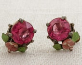 Vintage Rhinestone Earrings Clip On Pink Faceted  Enamel Green Leaves Flower Dainty Clipons | Vtg 7B