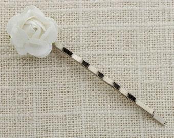 White Flower Paper Rose Silver Hair Clip Embellished Bobby Pin   Handmade in USA Hair Pins 16V