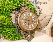 RESERVE for Kristin: Antique French Wall Clock, Porcelain  Numbers, Bird and Nest, Fleur De Lis, Griffin, from France